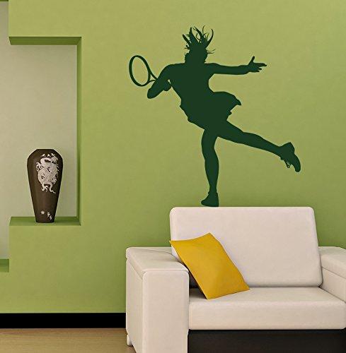 Sports Raquette de tennis Woman Girl Chambre d'enfant enfant élégante Décoration murale Autocollant G8271 44x52 Black, Red, Navy,White, Orange, Blue, Green, Dark Green, Silver, Gold, Burgundy, Pink, Hot Pink,Purple, Brown