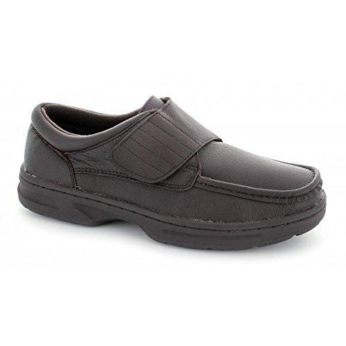 Dr Keller TEXAS Bar en cuir avec fermeture Velcro pour homme Coupe large pour chaussures Marron