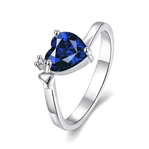 Aeici Schmuck Ringe Blau Platinum Damen Hohle Blume Form Zirkonia Größe 57 (18.1)