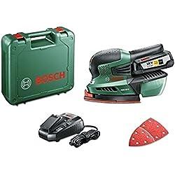 "Bosch Ponceuse multifonction ""Expert"" sans fil PSM 18 Li, 1 batterie 18V 2,5 Ah, 3 feuilles abrasives, technologie Syneon 06033A1303"