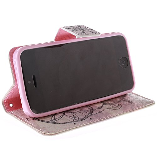 C-Super Mall-UK Apple iPhone 5 / 5S / SE -Fall, PU-Leder-Mappen-Standplatz -Schlag-Fall für Apple iPhone 5 / 5S / SE TX6032202