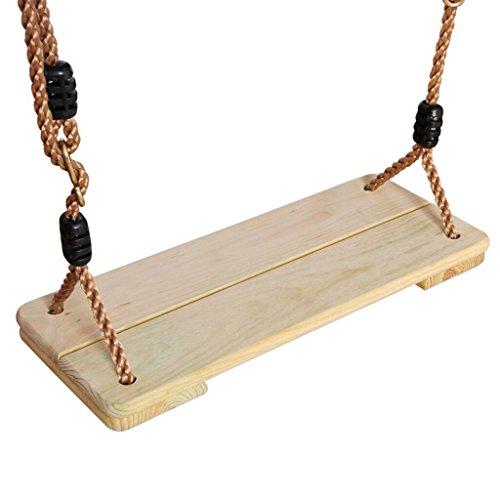 MagiDeal Holz Kinderschaukel mit Seil, Brettschaukel Schaukelsitz belastbar bis ca. 150Kg Spielplatz im Freien Garten