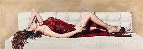 Rahmen-Kunst Keilrahmen-Bild - Pierre Benson: Beauty on White Sofa Leinwandbild Frau Mädchen Liegend Couch -