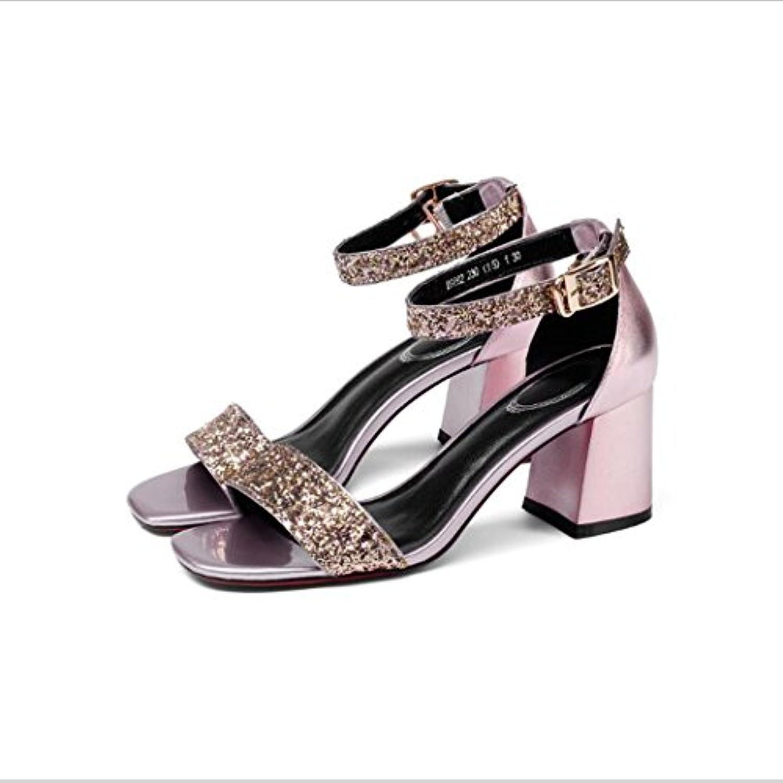 ZZZJR  s pour femmes Open-Toed brillance des des des femmes bride à la cheville en cuir mi-talon sandales en tissu...B07D26PSDXParent 8db1a1