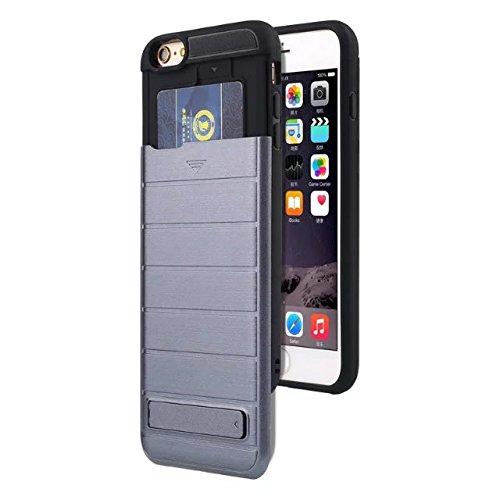 """iPhone 6 Plus Hülle,iPhone 6S Plus Hülle,Lantier 2 in 1 gebürstetem Metall Texture Wallet Serie Schutzmaßnahmen Hard Case Cover mit Kickstand und Kartenfach für iPhone 6 Plus/6S Plus 5.5"""" Grau Brushed Texture Grey"""