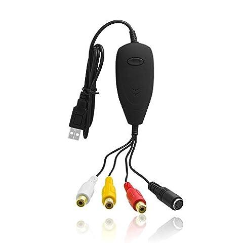 Easy-Link Enregistreur Convertisseur de Vidéo Audio, Carte de Capture Vidéo USB 2.0 Câble de Transfert S-Vidéo / RGB à USB pour Windows / VHS vers DVD / VHS Enregistreur