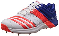 adidas Mens Adipower Vector White, Red and Blue Cricket Shoes - 7 UK