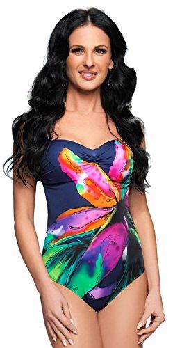 7810d5f122dee1 Gorsenia attraktive Bademode (Bikini/Badeanzug) in großen Größen (C-Cup bis  H-Cup) mit vorteilhaftem Schnitt (3XL, Badeanzug dunkelblau/bunt)