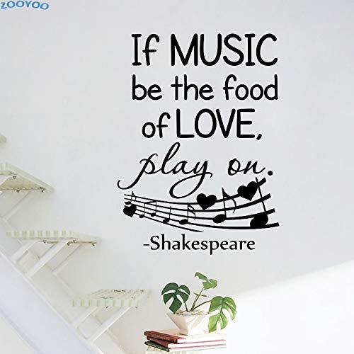 yiyiyaya Wenn Musik die Nahrung der Liebe Sein Wandaufkleber Music Note Home Decor Abnehmbare Wohnzimmer Dekoration Wandtattoos Für Childre83x58cm