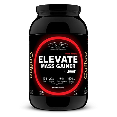 Sinew Nutrition Elevate Mass Gainer With Digestive Enzymes, 1 Kg (Coffee Flavour)
