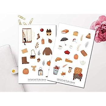Herbst Kleidung und Gegenstände Sticker Set | Aufkleber | Journal Sticker | Planersticker | Sticker Zuhause | Sticker Jahreszeiten