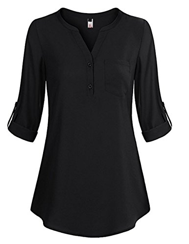 ELFIN Damen Locker Shirt Bluse Elegant Freizeit V-Ausschnitt Chiffon Tunika Casual Oberteile Lange Tops