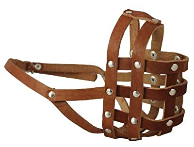 "Real Leather Dog Basket Muzzle #110 Brown - Bulldog (Circumference 13.7"", Snout Length 2.75"") from Dogs My Love"