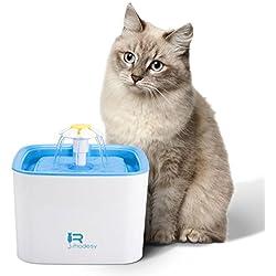 Rhodesy Fuente de Agua Gato Fuentes de Flores, Silencia Bebedero Gato 2.5 Ultra Silenciosa y Automática para Mascotas, Fuente de Bebida para Mascotas para Gatos y Perros con 1 Filtro de Repuesto y Bomba Silenciosa