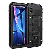 Beeasy Case for iPhone XR,Waterproof Shockproof Tough Armor Heavy Duty Metal Defender Cover with Built-in Screen Military Grade Protective,Drop Proof Rugged Hybrid Outdoor Sport Protection,Black