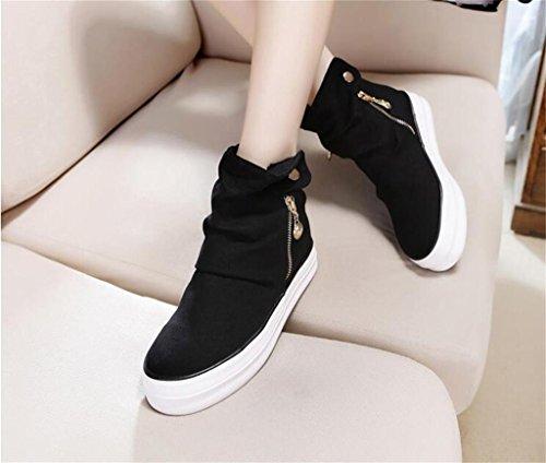 ALUK- Version coréenne de la haute-aide toile de chaussures femmes fermeture à glissière épaisseur-fin chaussures étudiant occasionnels ( couleur : Noir , taille : 38 ) Noir