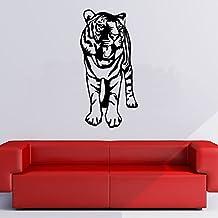 Tigre rugiente Jungle Big Cat Animales salvajes vinilos decorativos Inicio decoración art pegatinas disponible en 5 tamaños y 25 colores Grande Blanco