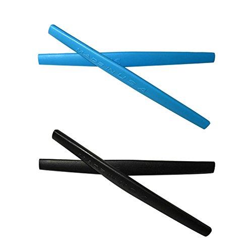 HKUCO Blue/Black Replacement Silicone Leg Set For Oakley Square Wire 2.0 Sunglasses Earsocks Rubber Kit