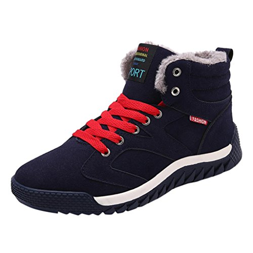 SOMESUN Schuhe Herren Winter Sneaker Niedriger Knöchel-Ordnungs-flache Knöchel-Winter-warme Herbst-Stiefel-beiläufige Sport-Schuhe (38, Blau) Weiße Männer Gucci-schuhe