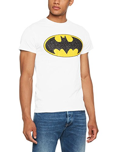 DC Comics Herren Dc Originals Batman Crackle Logo Men T-Shirt, Weiß (White 002), L -