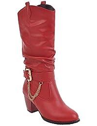 MissSaSa Damen Knöchelriemchen Cowboy Stiefel