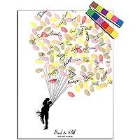 Takalao Personalisierte Fingerabdruck Leinwand druckt - Guest Book Signatur Fingerabdruck - neue Leute unter den Ballon , Standard , 40*60