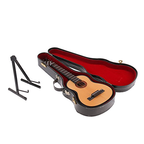 Sharplace 13cm Juguete Guitarra de Madera en Miniaturas para Casa de Muñecas Figuras de Acción