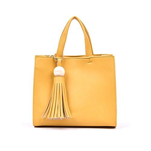Damen Weiche Ledertasche Handtasche Umhängetasche Mit Verstellbarem Schultergurt Yellow
