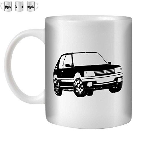 STUFF4 Tasse de Café/Thé 350ml/Noir/Peugeot 205 GTI/Céramique Blanche/ST10