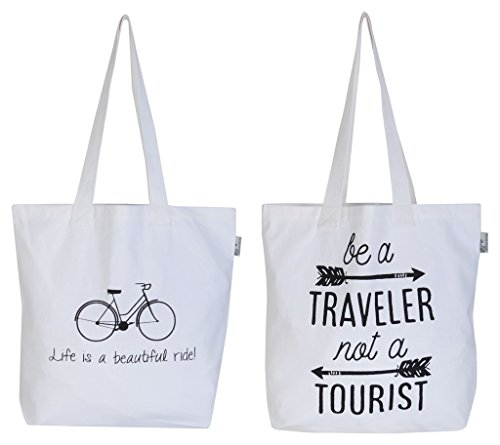 Accent Home Fabric White Reusable Shopper Bag - Set Of 2 (AHTOTBG-PRNTQT2-ST2)