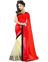 Tryme Fashion Women's Net Saree With Blouse Piece (.Abcdred_Sadi, Red, Free Size)