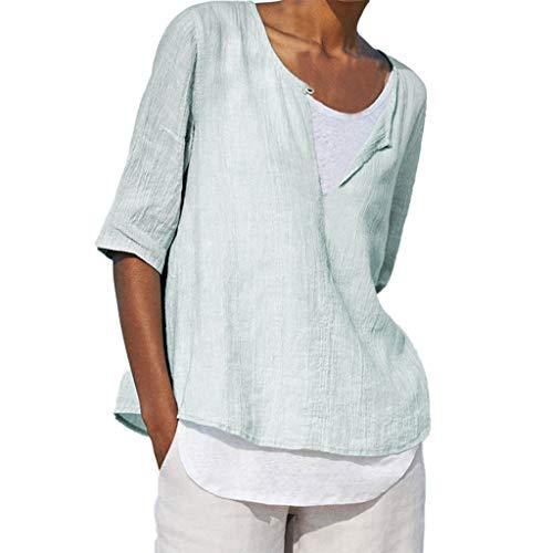 Watopi Shirt Damen Kurzarm Leinenbluse Vintage Blumendruck Tops Lockere Bluse Mode Lässige O-Ausschnitt Sommer Tshirt Festlich