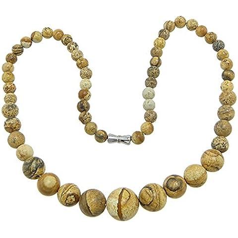 Collar de piedras preciosas joyas, jaspe de pintura, natural, 6-14mm, longitud: 17 inch