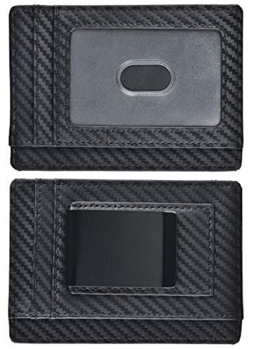 kinzd Herren Slim Super Starker Magnet Geld Clip Leder Brieftasche RFID Schwarz schwarz