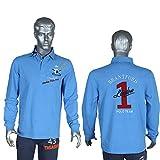 Threadmills - Polo de Manga Larga para Rugby, 100% algodón, Tallas S a XXL, Color Blanco, Rosa y Azul Claro Azul Azul Claro L
