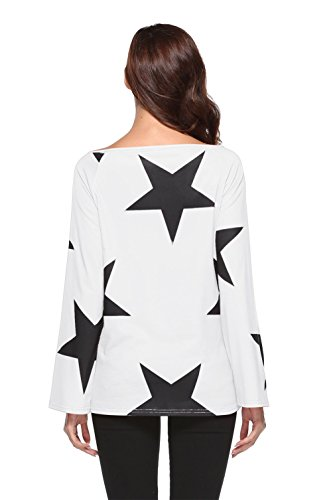 Femmes Casual manches longues sans bretelles Star Sweat Crop Jumper Pull Blouse Tops white