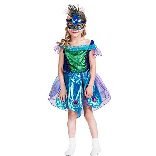 EraSpooky Mädchen Prinzessin Pfau Kostüme Kleid(als Bild, Medium)