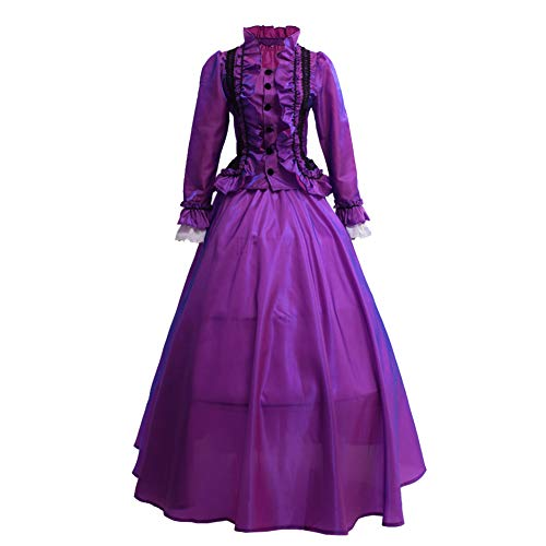 GRACEART Damen Gothic Viktorianisches Kleid Renaissance Maxi Kostüm (L, ()