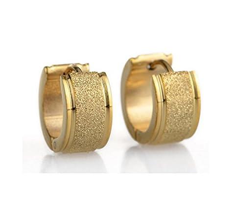 Cameleon-Shop - Ohrringe Ringe Scharnier - Edelstahl Glitzer - Farbe Gold