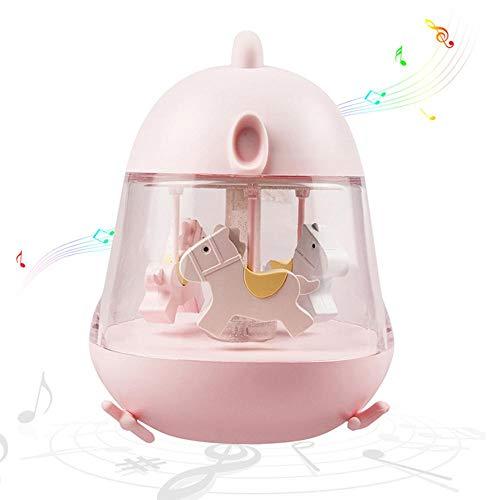 TEEPAO Niedliches Baby-Nachtlicht, Karussell Spieluhr mit USB-Ladeanschluss und Touch-Schalter, LED-Licht mit Farbwechsel, Musikspielzeug für Kinder, Mädchen, Frauen, Geburtstag, Hochzeit Rose