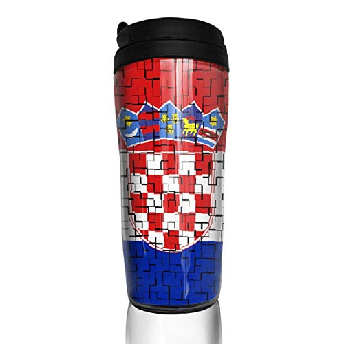 Travel Coffee Mug Croatia Flag Puzzle 12 Oz Spill Proof Flip Lid Water Bottle Environmental Protection Material ABS