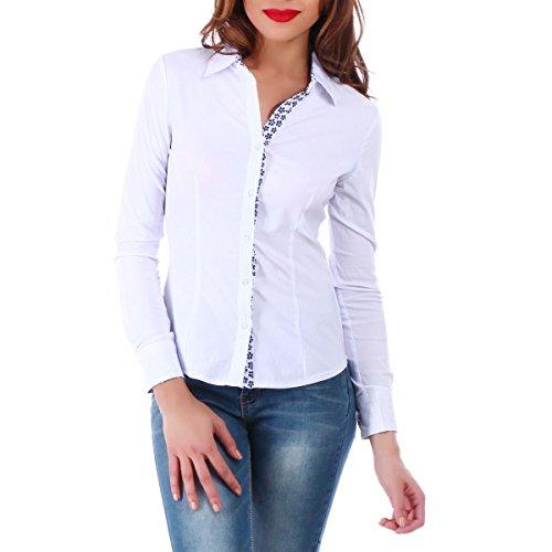 La Modeuse - Chemise femmedotée de manches longues Blanc