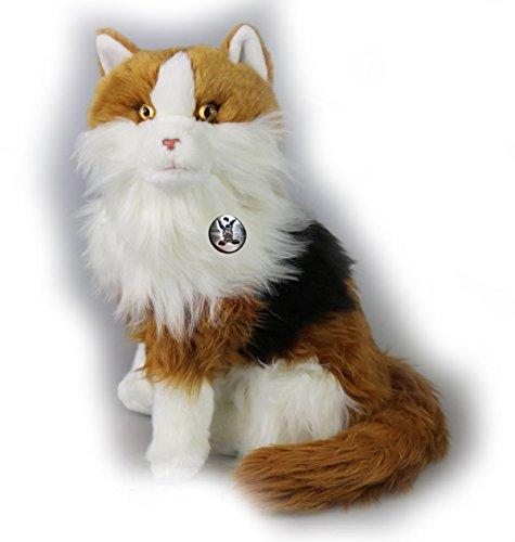Kuscheltiere.biz Maine Coon Katze Tycoon sitzend Tricolor Plüschtier Plüschkatze Glückskatze 32 cm