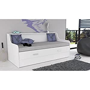 portland lit extensible sommier 90 180x200 cm blanc. Black Bedroom Furniture Sets. Home Design Ideas