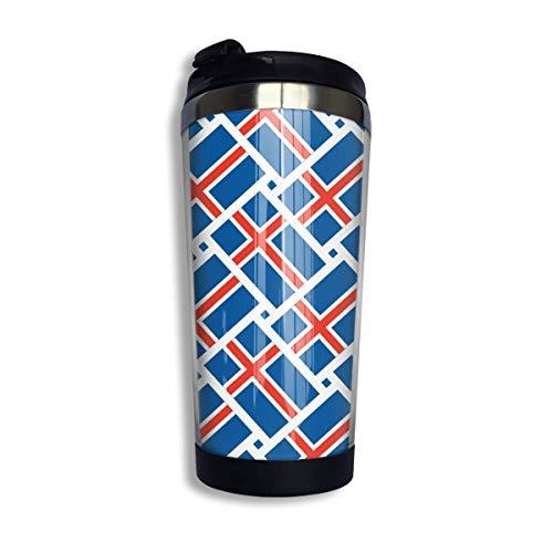 Island-Flaggen-Webart-Edelstahl-Reise-Kaffeetassen mit Deckel isolierten 13 Unzen / 400 ml