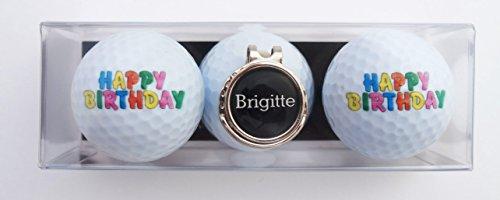 Geschenk-Set Happy Birthday mit 2 Golfbällen und Cap-Clip + Golfball Marker mit VORNAMEN, über 1500 Namen sofort erhältlich! Geschenk Idee
