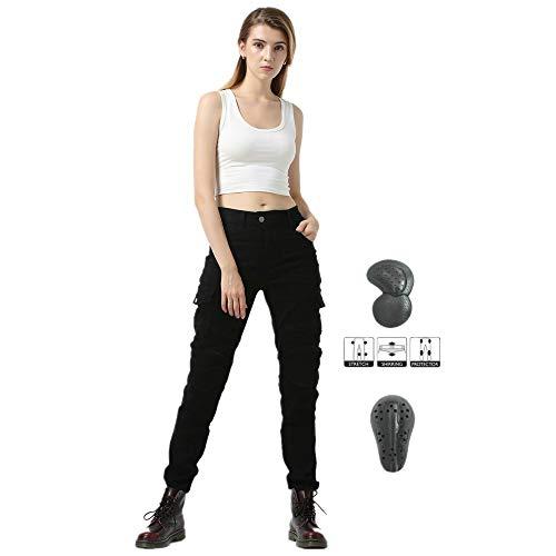 Jeans Da Moto Da Donna, Pantaloni Da Motocross, Versione Aggiornata Di Tappetino Protettivo Rimovibile, Pantaloni Da Moto Anti-caduta (Nero,42)