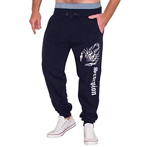 Da uomo casual jogger, gamba affusolata sport tasche pantaloni running trackuit pantaloni palestra pantaloni slim fit chino pantaloni della tuta, marina militare, l/waist: 94cm/37.01
