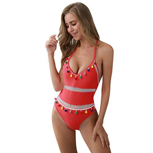 etro Bikini Set Sportliche Gepolstertes Festes Mesh Stern Drucken Swimwear Monokini Quaste Pompom Badeanzug Damen Bademode EIN Stück Beachwear Gelb Rot Schwarz Pink Weiß S-XL ()