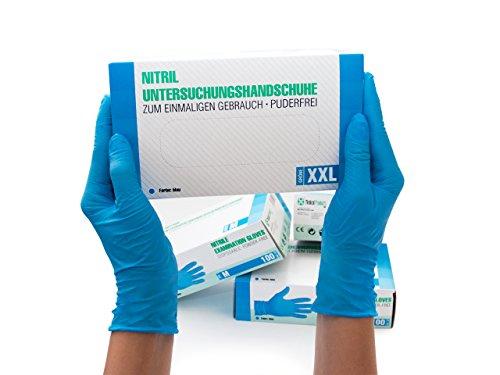 Nitrilhandschuhe 90 Stück Box (XXL, Blau) Einweghandschuhe, Einmalhandschuhe, Untersuchungshandschuhe, Nitril Handschuhe, puderfrei, ohne Latex, unsteril, latexfrei, disposible gloves, blue, XX Large